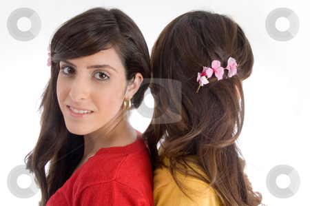 Portrait of brunette sisters stock photo, Portrait of brunette sisters on an isolated white background by Imagery Majestic
