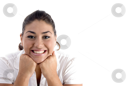 Posing glad woman stock photo, Posing glad woman against white background by Imagery Majestic