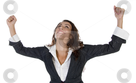 Woman with raising hands stock photo, Woman with raising hands  on an isolated background by Imagery Majestic