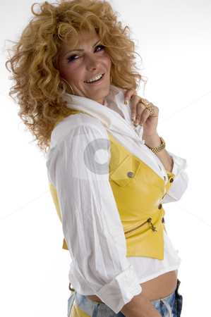 Woman holding her collar stock photo, Woman holding her collar with white background by Imagery Majestic
