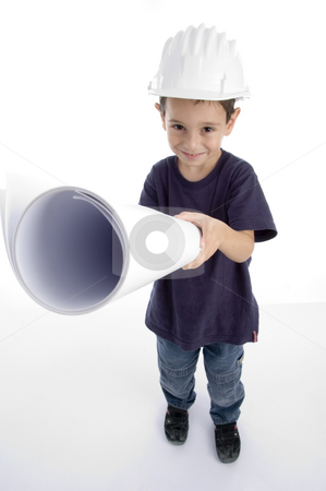 Little architect wearing hardhat and holding blueprints stock photo, Little architect wearing hardhat and holding blueprints isolated on white background by Imagery Majestic