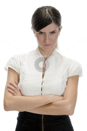 Young lady staring you stock photo, Young lady staring you on an isolated white background by Imagery Majestic