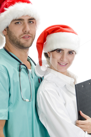 Smiling american medical professionals stock photo, Smiling american medical professionals on an isolated background by Imagery Majestic