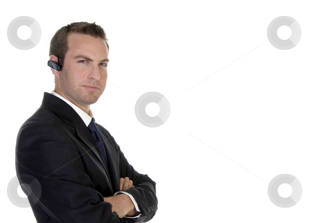 Smart businessman with bluetooth stock photo, Smart businessman with bluetooth with white background by Imagery Majestic
