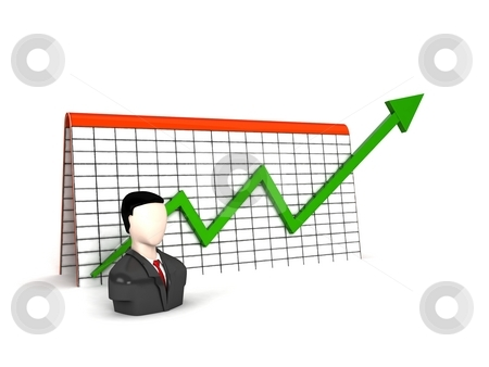 Three dimensional man with profit graph stock photo, Three dimensional man with profit graph on an isolated background by Imagery Majestic