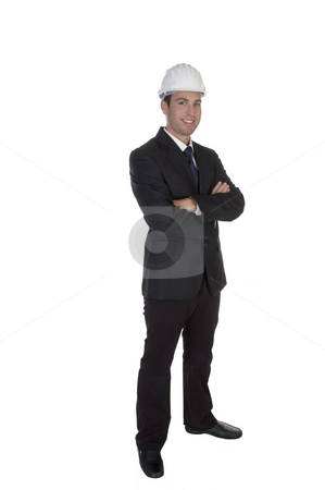 Happy young architect with helmet stock photo, Happy young architect with helmet with white background by Imagery Majestic