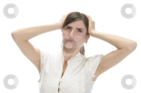 Young lady in frustration stock photo, Young lady in frustration on an isolated white background by Imagery Majestic