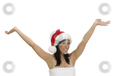 Happy smart woman with raised hands stock photo, Happy smart woman with raised hands by Imagery Majestic