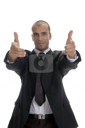 Cool successful businessman posing stock photo, Cool successful businessman posing against white background by Imagery Majestic