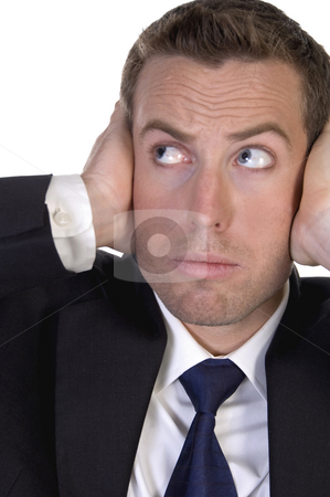 Portrait of businessman stopping high sound with his hands stock photo, Portrait of businessman stopping high sound with his hands with white background by Imagery Majestic