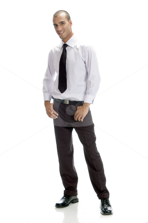 Full pose of handsome businessman stock photo, Full pose of handsome businessman isolated on white background by Imagery Majestic