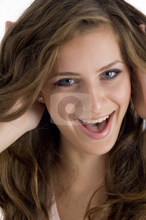 Happy cheerful young girl stock photo, Happy cheerful young girl on an isolated white background by Imagery Majestic