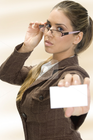 Lady showing business card stock photo, Lady holding  business card on an isolated white background by Imagery Majestic