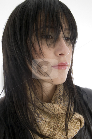 Close up of beautiful woman stock photo, Close up of beautiful woman against white background by Imagery Majestic