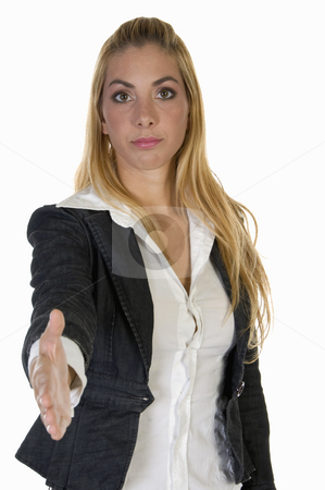 Woman offering hand shake stock photo, Woman offering hand shake against white background by Imagery Majestic