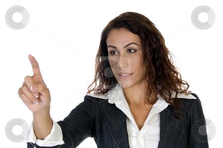 Lady indicating stock photo, Lady indicating something with white background by Imagery Majestic