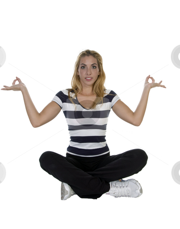 Lady performing yoga sitting in lotus pose stock photo, Lady performing yoga sitting in lotus pose isolated with white background by Imagery Majestic