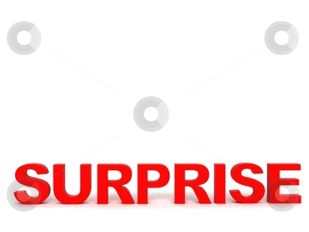 Front view of surprise word stock photo, Three dimensional front view of surprise word by Imagery Majestic