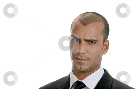 Man expressing suspicion with his eyes stock photo, Man expressing suspicion with his eyes on an isolated white background by Imagery Majestic