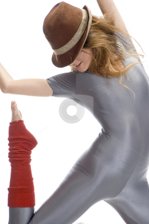 Dancing woman with hat stock photo, Dancing woman with hat against white background by Imagery Majestic