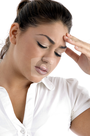 Woman with tension stock photo,  by Imagery Majestic