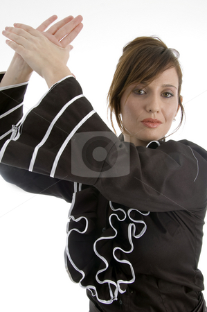 Clapping adult female stock photo, Clapping adult female against white background by Imagery Majestic