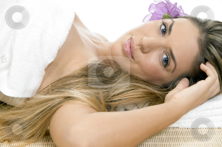 Relaxing blonde model looking you stock photo, Relaxing blonde model looking you by Imagery Majestic
