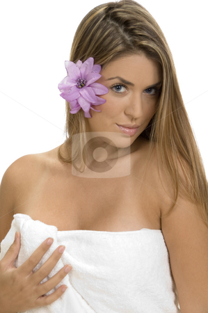 Posing blonde lady in towel stock photo, Posing blonde lady in towel on an isolated background by Imagery Majestic