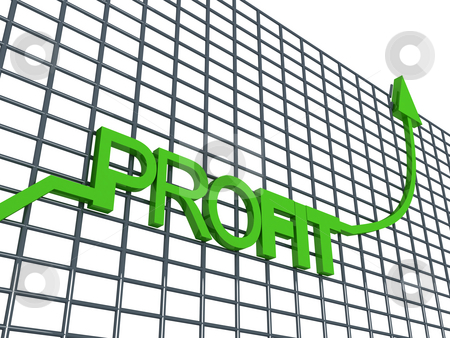 Profit graph stock photo, Side view of three dimentional profit graph by Imagery Majestic