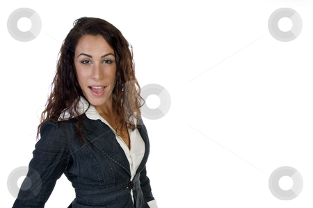 Young attractive woman stock photo, Young attractive woman on an isolated white  background by Imagery Majestic