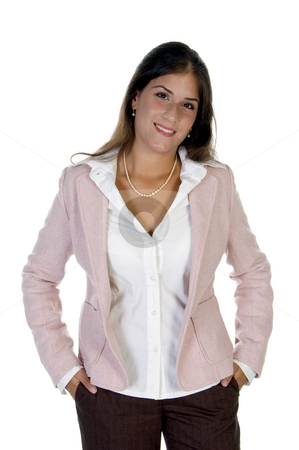 Businesswoman keeping hands in pocket stock photo, Businesswoman keeping hands in pocket against white background by Imagery Majestic