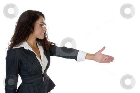 Charming lady offering hand shake stock photo, Charming lady offering hand shake with white background by Imagery Majestic