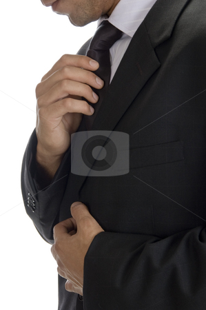 Adult man fastening tie stock photo, Adult man fastening tie with white background by Imagery Majestic