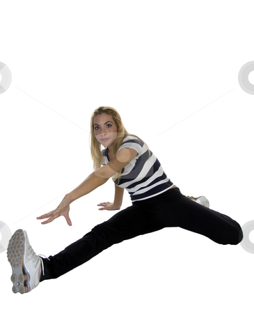 Pretty young lady exercising stock photo, Pretty young lady exercising on an isolated white background by Imagery Majestic