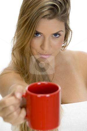 Sexy female showing coffee mug stock photo, Sexy female showing coffee mug by Imagery Majestic