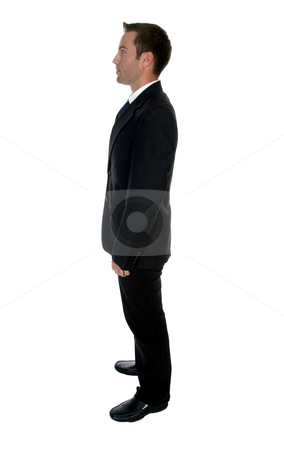 Side view of businessman stock photo, Side view of businessman with white background by Imagery Majestic