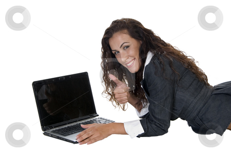 Lady showing approval stock photo, Lady showing approval  on an isolated background by Imagery Majestic