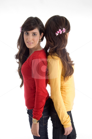 Young beautiful friends stock photo, Young beautiful friends against white background by Imagery Majestic