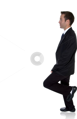 Side view of businessman  stock photo, Side view of businessman on an isolated white background by Imagery Majestic