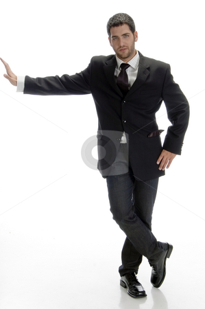 Stylish businessman posing stock photo, Stylish businessman posing on an isolated background by Imagery Majestic