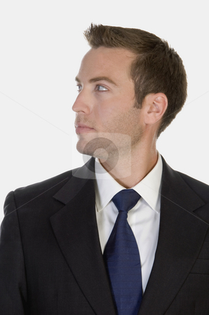 Man looking stock photo, Man looking against white background by Imagery Majestic