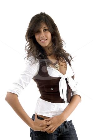 Beauty shot of beautiful model stock photo, Beauty shot of beautiful model with white background by Imagery Majestic