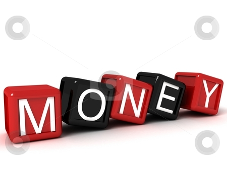 Three dimensional money text on building blocks   stock photo, Isolated three dimensional money text on building blocks by Imagery Majestic