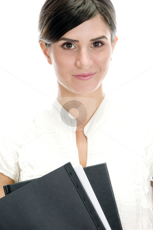 Smiling lady with files stock photo, Smiling lady with files against white background by Imagery Majestic