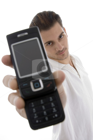 Young man with cellphone stock photo, Young man with cellphone on an isolated white backgound by Imagery Majestic