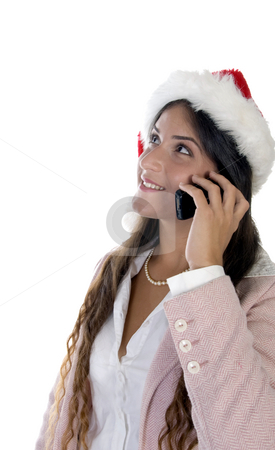 Lady wearing santacap and holding mobile stock photo, Lady wearing santacap and holding mobile with white background by Imagery Majestic