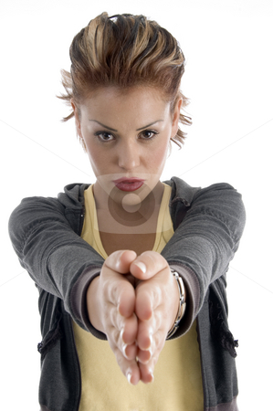 Young woman joint hands stock photo, Young woman joint hands on an isolated white background by Imagery Majestic