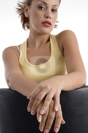 Front view of beautiful woman stock photo, Front view of beautiful woman on an isolated background by Imagery Majestic
