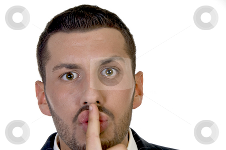 Man instructing to be silent stock photo, Man instructing to be silent with white background by Imagery Majestic