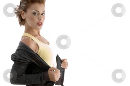 Portrait of glamorous woman stock photo, Portrait of glamorous woman on an isolated background by Imagery Majestic